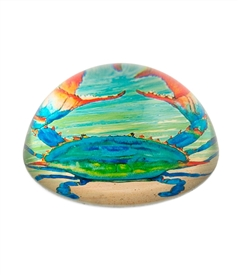 Blue Crab Crystal Glass Dome Paper Weight