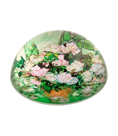 Vase with Pink Rose / Van Gogh Glass Dome Paperweight