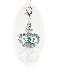 Silver Tone Plate  Jeweled Crown Charm