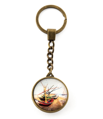 Fishing Boats On The Beach Key Ring