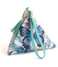 Botanical Butterfly Triangle Wristlet Clutch Purse