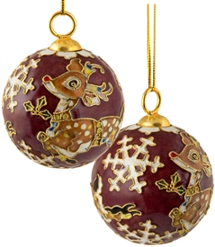 Cloisonne Reindeer Ball Ornament