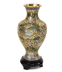 Vintage Gold Cloisonne Flower Vase with Wood Stand