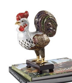 Cloisonne Rooster On wood Stand