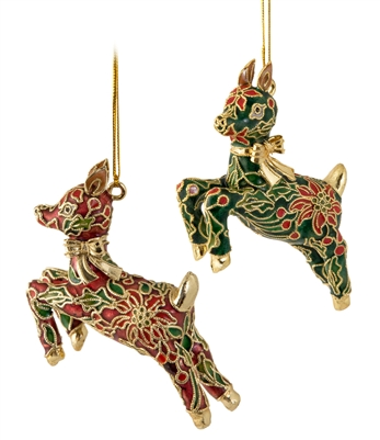 Cloisonne Reindeer With Gold Bow Ornament