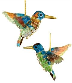 Cloisonne Articulate Hummingbird Ornament