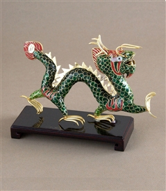 Cloisonne Green Dragon on Wood Stand
