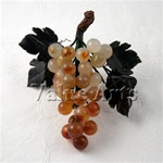 Hand Carved Carnelian Grape with Jade Leaves