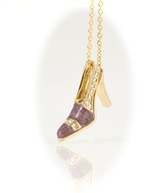 Yellow Gold Plated Pink High Heel Shoe Pendant Necklace