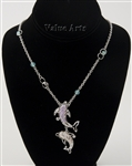 Rhodium Seashell Dolphin Pendant Necklace