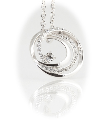 Rhodium Plated Circle Pendant Necklace