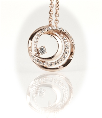 Rose Gold Plated Circle Pendant Necklace