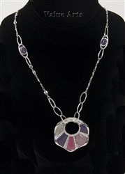 Rhodium Plating Disc  Pendant Necklace