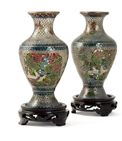 Plique-a-Jour Pair of Vases on Wood Stand
