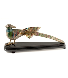 Plique-a-Jour Pheasant on Wood Stand