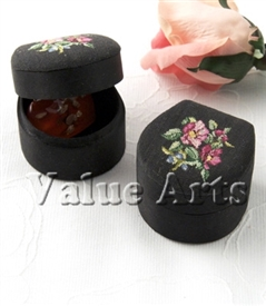 Black Rose Flower Petit Point Jewelry Box