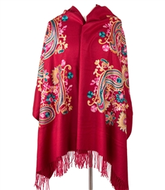 Cashmere Paisley Floral Embroidery Wrap