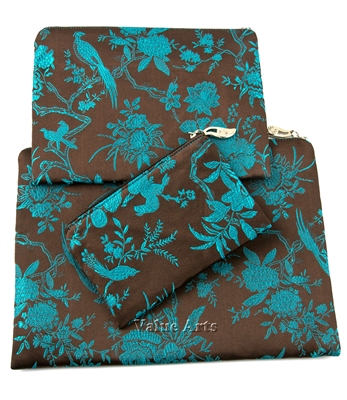 Silk Brocade Floral Set Of 3 Pouch