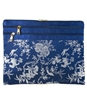 Silk Brocade Floral Tri zippered Accessories Case