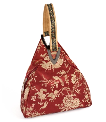 Silk Brocade Floral and Bird Hand Bag in Oriental Red