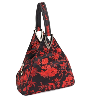 Silk Brocade Floral and Bird Hand Bag in Red