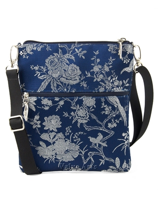 Silk Brocade Floral Crossbody Bag