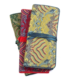 Oriental High End Silk Damask Jewelry Roll/Set of 3