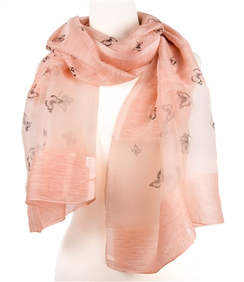 Silk Butterfly Shawl in Pink Color
