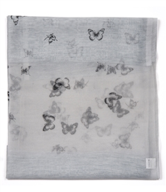 Silk Butterfly Scarf in Silver