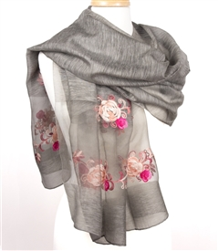 Vintage Inspired Silk Embroidered Rose Shawl
