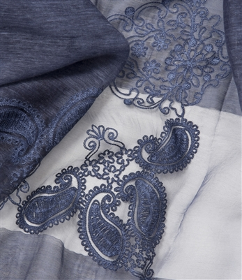 Vintage Inspired Silk Embroidered Shawl