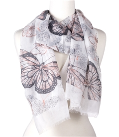 Butterfly Scarf in White