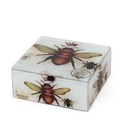 Vintage Bee and Crown Square Box