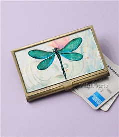 green dragonfly card case