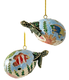 Cloisonne Baby Sea Turtle  Ornament