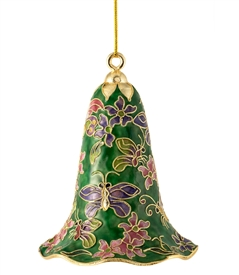 Cloisonne Butterfly Floral Large Bell Ornament