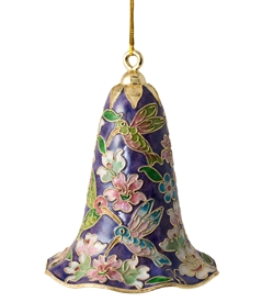 Cloisonne Humming Bird Floral Large Bell Ornament