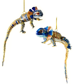 cloisonne articulated iguana ornament
