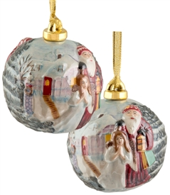 Hand sculptured and Painted Santa with Angel Porcelain Ornament
