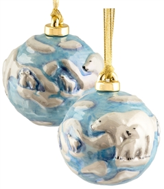 Hand sculptured and Painted Family Polar Bear Porcelain Ornament
