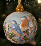 Hand Sculptured and Painted Bluebird Porcelain Ball