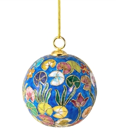 Cloisonne Waterliles Ball Ornament