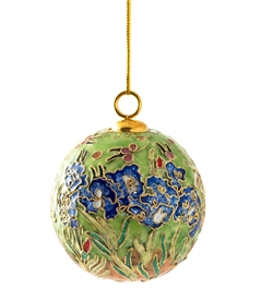 Cloisonne Irises Ball Ornament