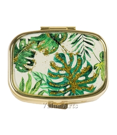 Tropical leaves Pill Box with Gold Sparkling Metallic