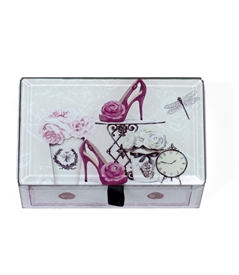 Pink Rose High Heel Shoe Treasure Box