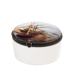 Fishing Boats On The Beach Keepsake Box