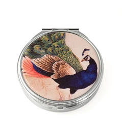 Blue Peacock Round Pill Box