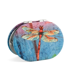 Dragonfly Oval Travel Mirror