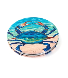Blue Crab Round Travel Mirror