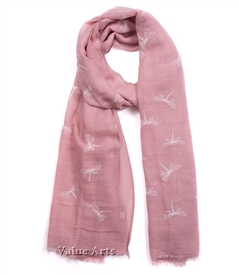 Dragonfly Scarf in Pink